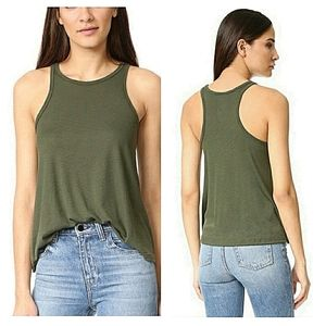 Vtg Free People Racerback Tank Olive Green Small